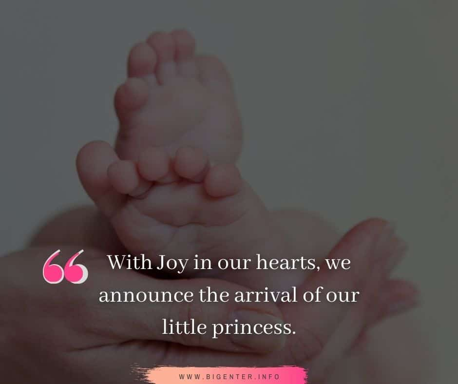 Blessed with Baby Girl Message